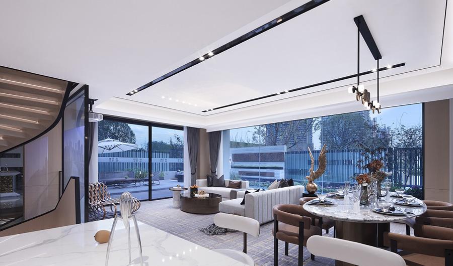 公园式居住体验别墅客厅装修设计效果图 第1张